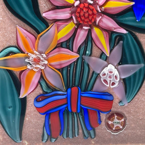 Mickael Hingant 2020 Flamework Flowers on  Mauve Plaque Cold-Work by Jim Poore
