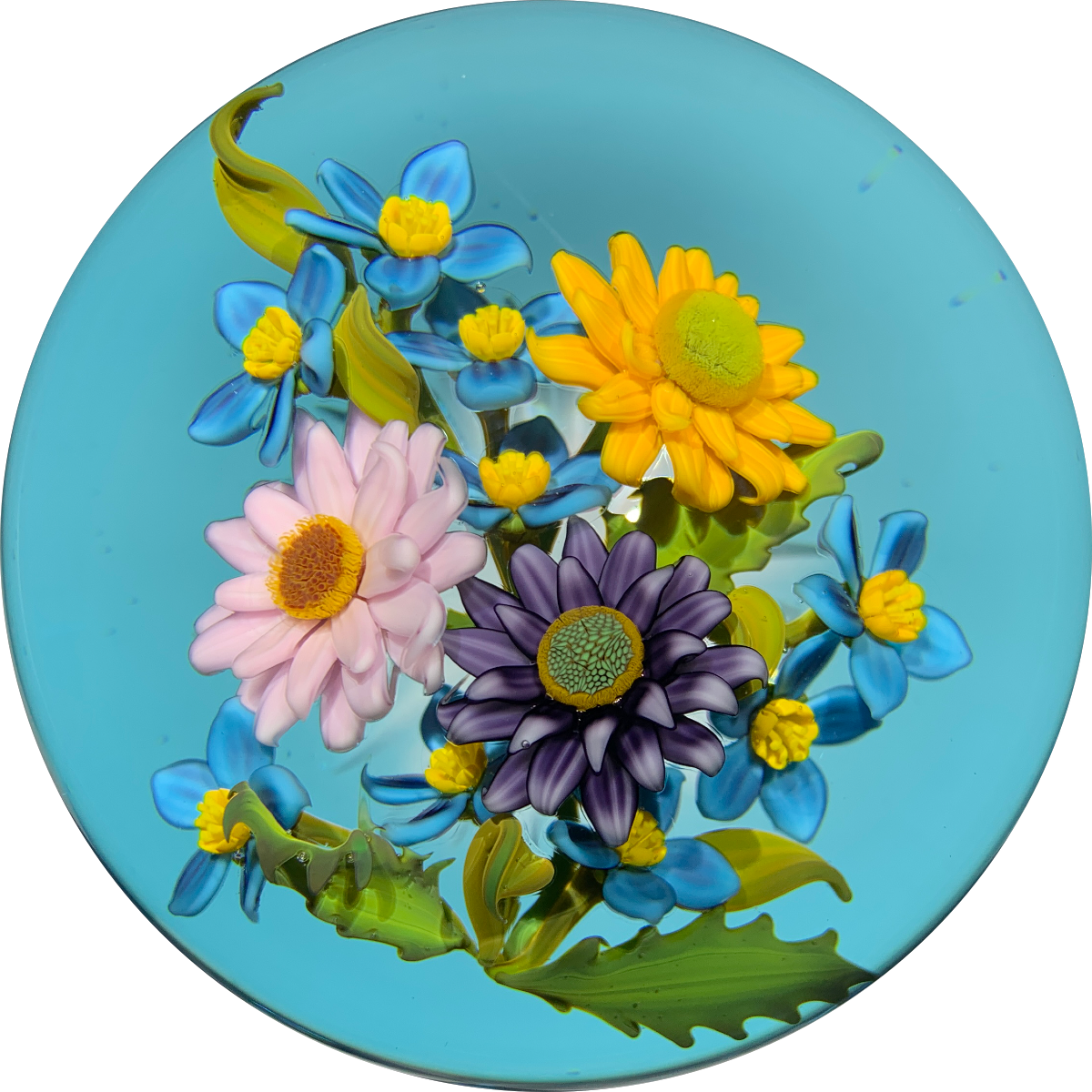 Gordon Smith 2020 Flamework Wild Flower Daisy Bouquet on Transparent Blue Star Cut Base