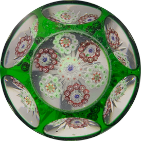 Uncommon Antique Baccarat Millefiori Roundels With Faceted Emerald Green Flash Overlay
