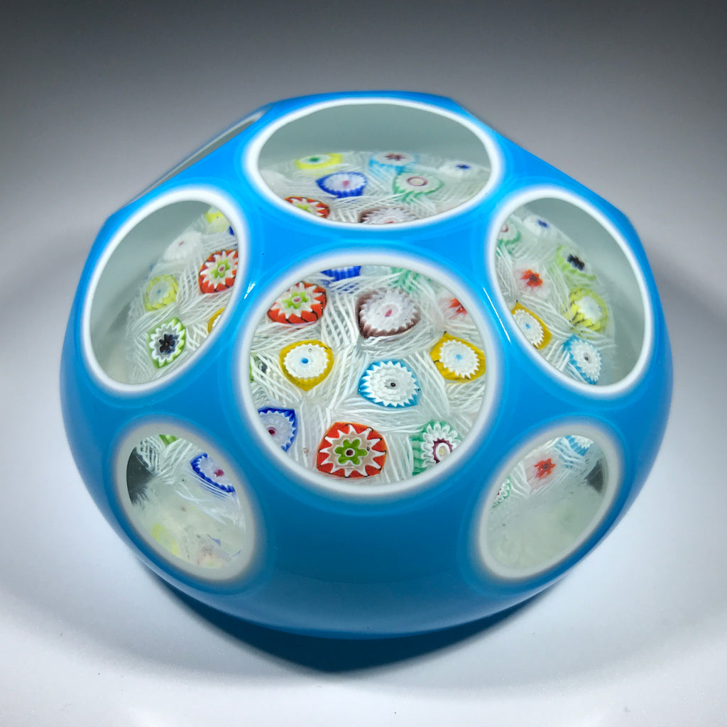 Vintage Murano Fratelli Toso Art Glass Paperweight Millefiori Chequer W/ Faceted Double Overlay