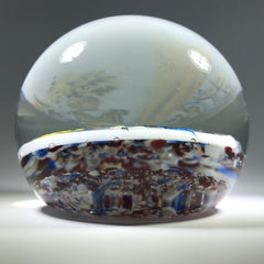 Vintage American Thomas Mosser Art Glass Paperweight Encased American Quilters Plaque
