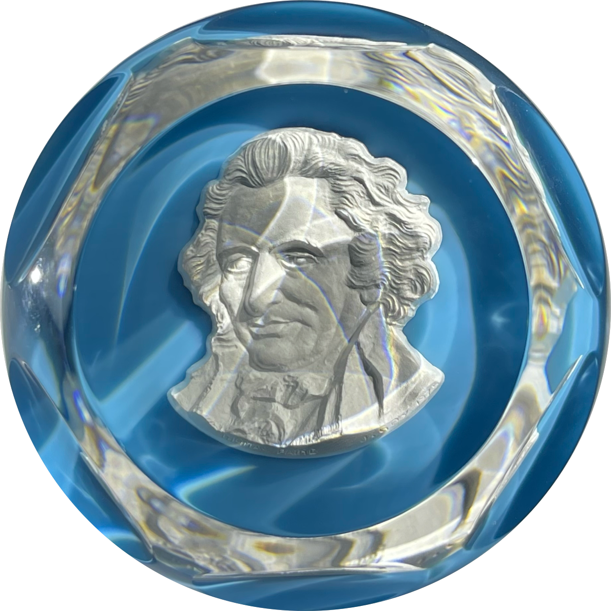 Baccarat Crystal 1976 Thomas Paine Sulphide on Opaque Blue Ground