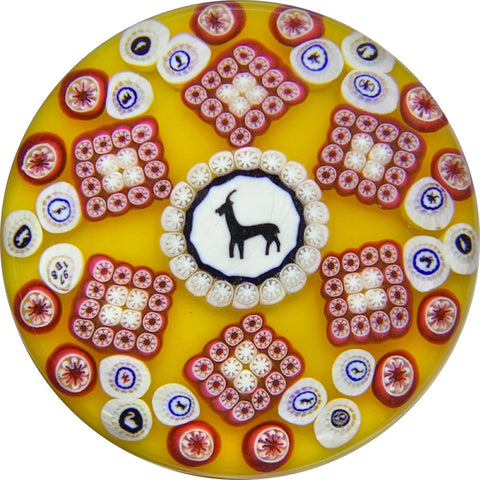 Limited Edition Baccarat Goat Gridel Silhouette with Patterned Millefiori