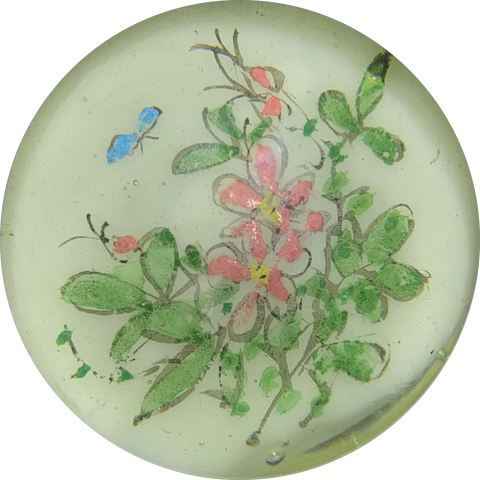 Early Chinese Hand-Painted Butterfly with Pink Flowers Encapsulated White Ground