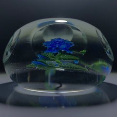 Vintage Harold Hacker Lampwork Stemed Blue Blossom on Clear with 6 +1 Faceting