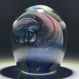 Signed Robert Burch 1979 Abstract Coiled Iridescent Filigree Studio Glass Paperweight