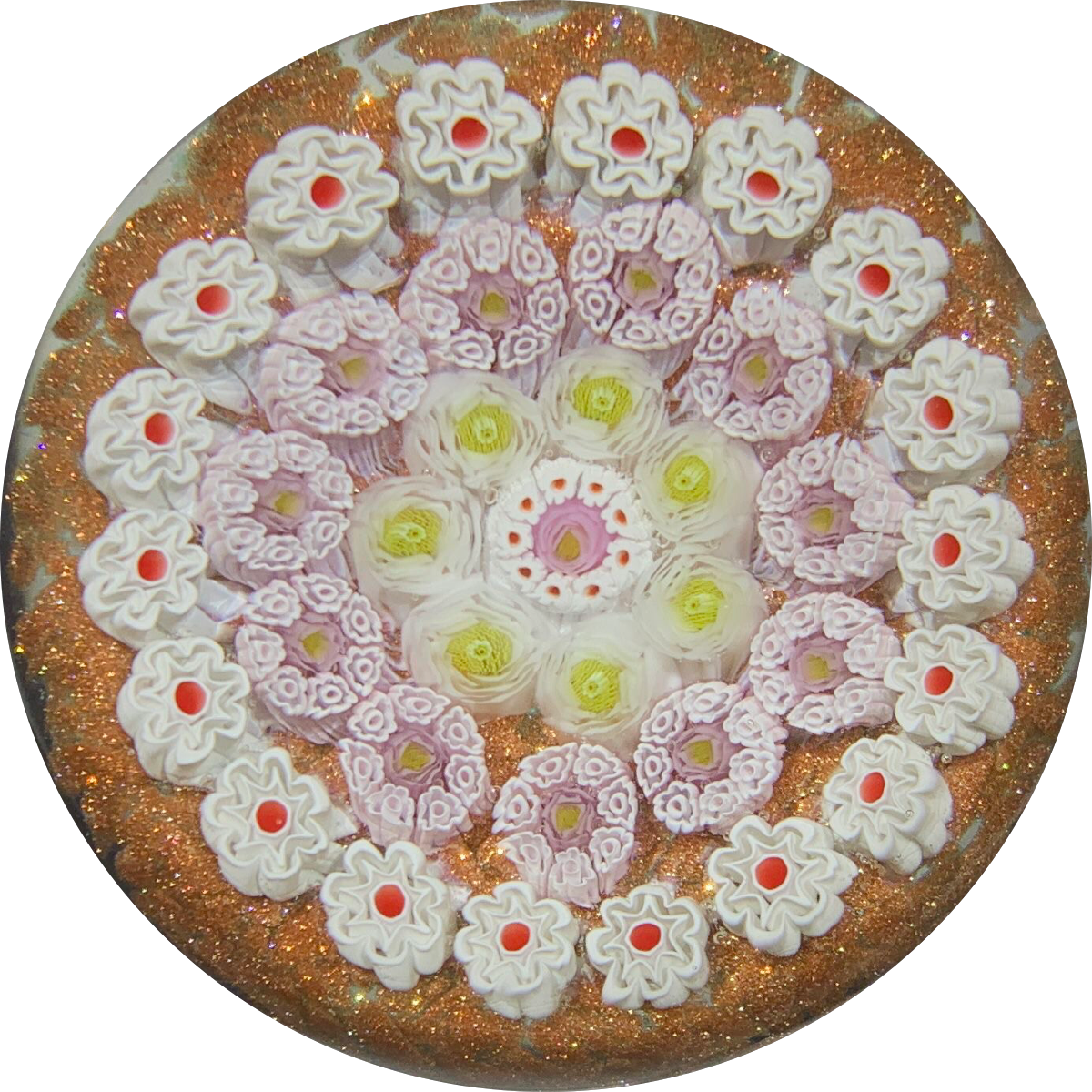 James Hart Complex Concentric Millefiori on Aventurine Ground