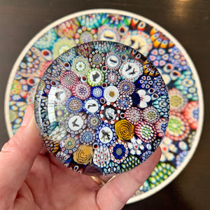 Michael Hunter 2019 Art Glass Paperweight & Matching Custom-Cut Wooden Jigsaw Puzzle Millefiori Closepack with Murrine & Silhouette Canes