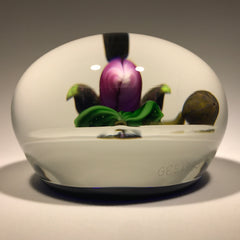 Signed Gordon Smith Art Glass Paperweight Lampwork Lady Slipper Orchid on Blue