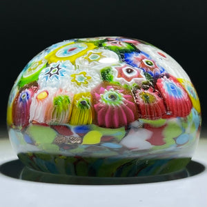 Vintage Murano Closepack Millefiori on Colorful Frit Glass Paperweight