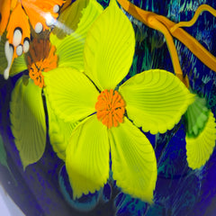 Mayauel Ward 2019 Compound Torchwork Orange Swallowtail Butterfly with Yellow Blossoms on Blue