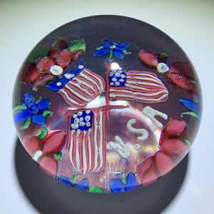 Antique Union Glass Company Patriotic USA Flamework Paperweight