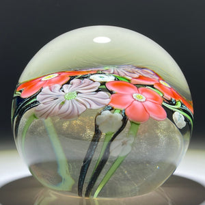 Signed Orient & Flume Torchwork Flowers with Vine on Transparent Dichroic Ground