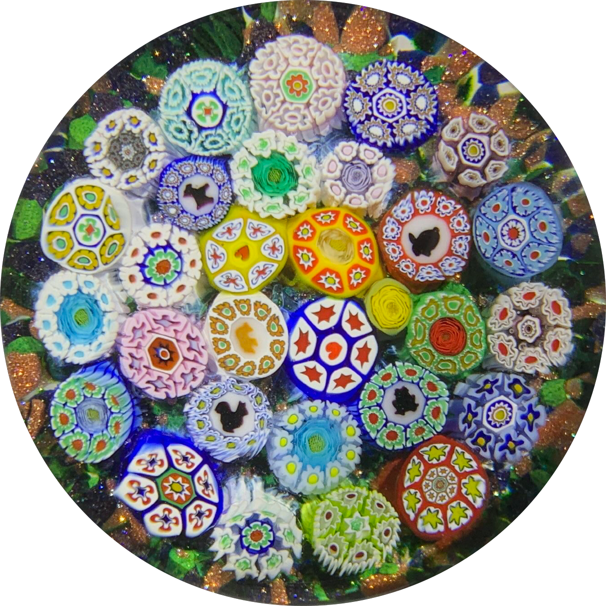 James Hart Complex Closepack Millefiori witch Silhouettes and Roses on Aventurine Ground