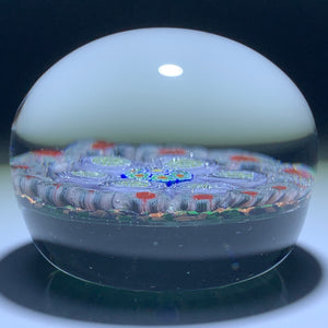 Concentric Complex Millefiori w/ Roses on Aventurine Ground Glass Art Paperweight