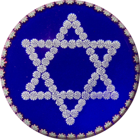 Peter McDougall Star of David with Complex Millefiori Garland on Opaque Blue Ground