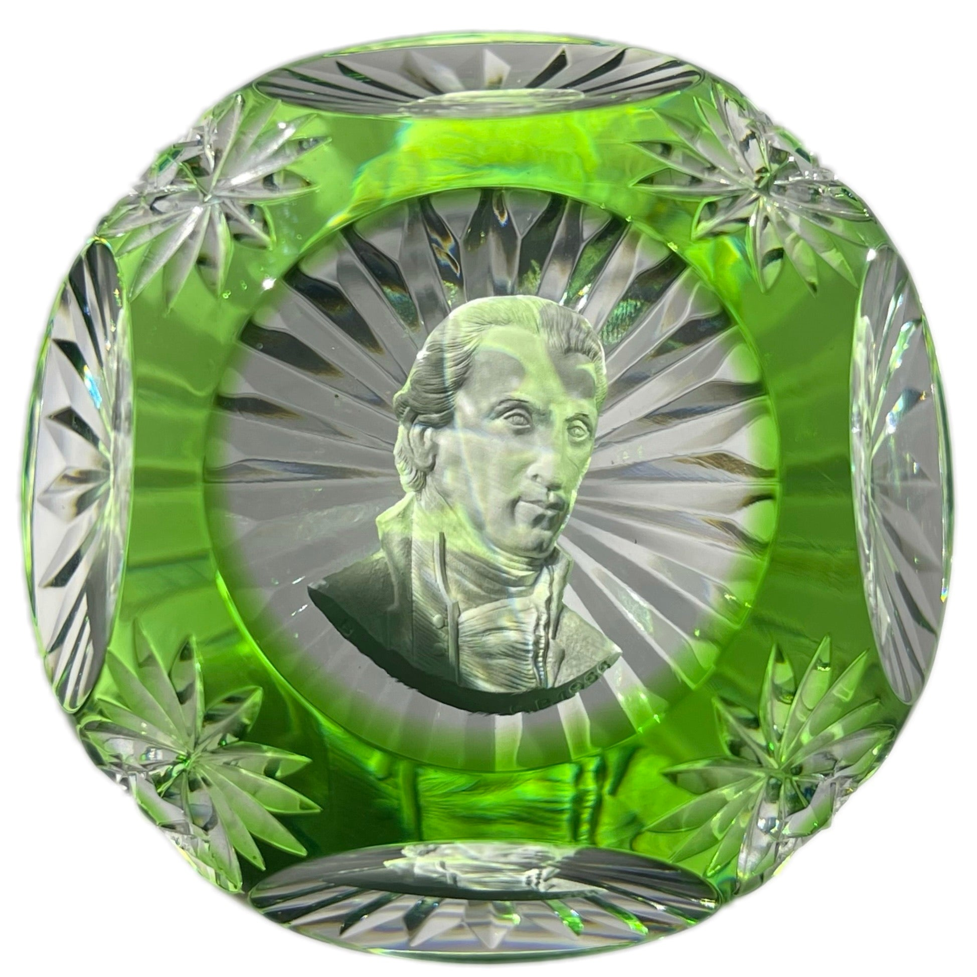 Baccarat 1955 President James Monroe Sulphide Fancy Cut Green Overlay
