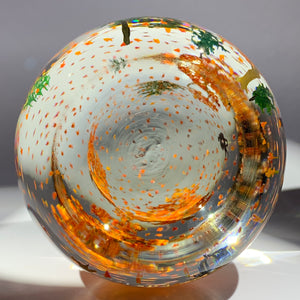 Signed Alison Ruzsa Windy Falling Leaves Autumn Scene Art Glass Paperweight