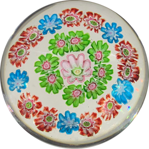 Antique Clichy Miniature Open Concentric Millefiori On Clear