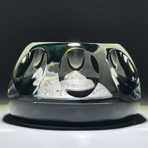 Cristal d'Albret 1969 Faceted Paul Revere Sulphide on Transparent Black Paperweight