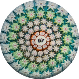 Perthshire Paperweights PP107 Complex Concentric Millefiori With Butterfly Picture Cane