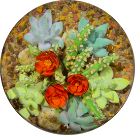 Cathy Richardson 2020 One-Of-A-Kind Miniature Flamework Flowering Cacti & Succulents