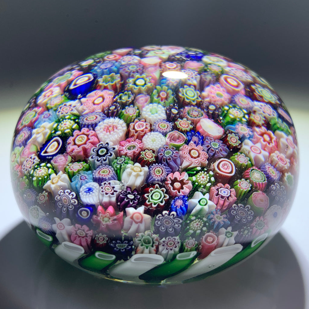 Antique Clichy Glass Art Paperweight Complex Closepack Millefiori in Green & White Stave Basket