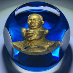 Baccarat Dr. Martin Luther King Jr. MLK Gold Inclusion Art Glass Paperweight