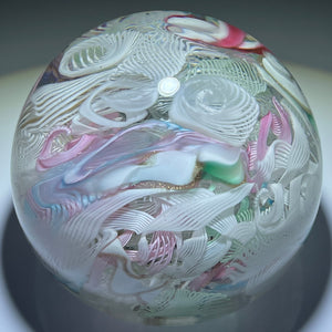 Vintage Magnum Murano Pastel Colored Ribbon Twists and Latticinio Scramble Glass Art Paperweight