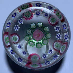 Antique Clichy Open Concentric Complex Millefiori With Central Pink Rose