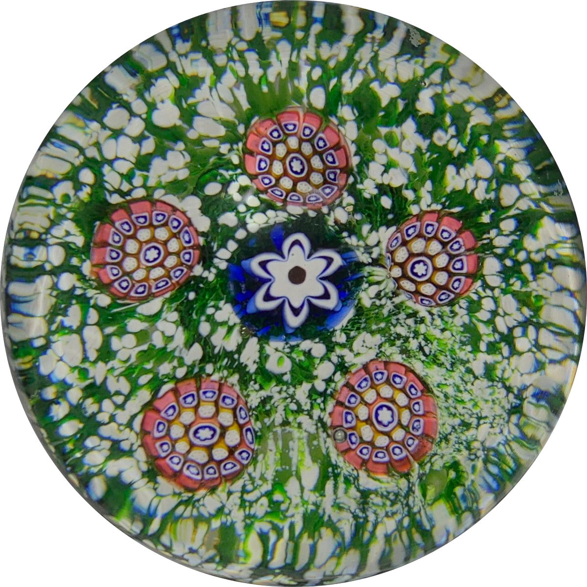 Antique Saint-Louis Miniature Spaced Complex Millefiori on Green Jasper Ground
