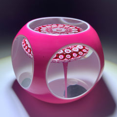 Baccarat 1973 Art Glass Paperweight Millefiori Mushroom & Faceted Pink over White Double Overlay