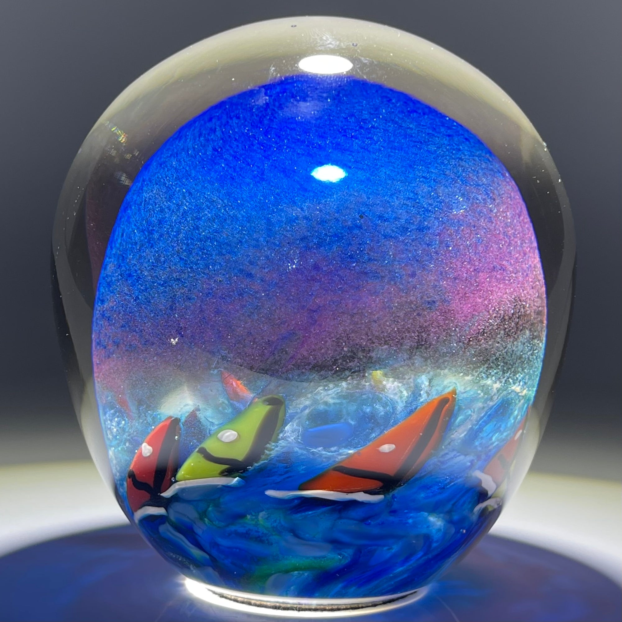 Signed Karg 1997 Torchwork Sail Boat Race Partially Hollow Blown Glass Art Paperweight
