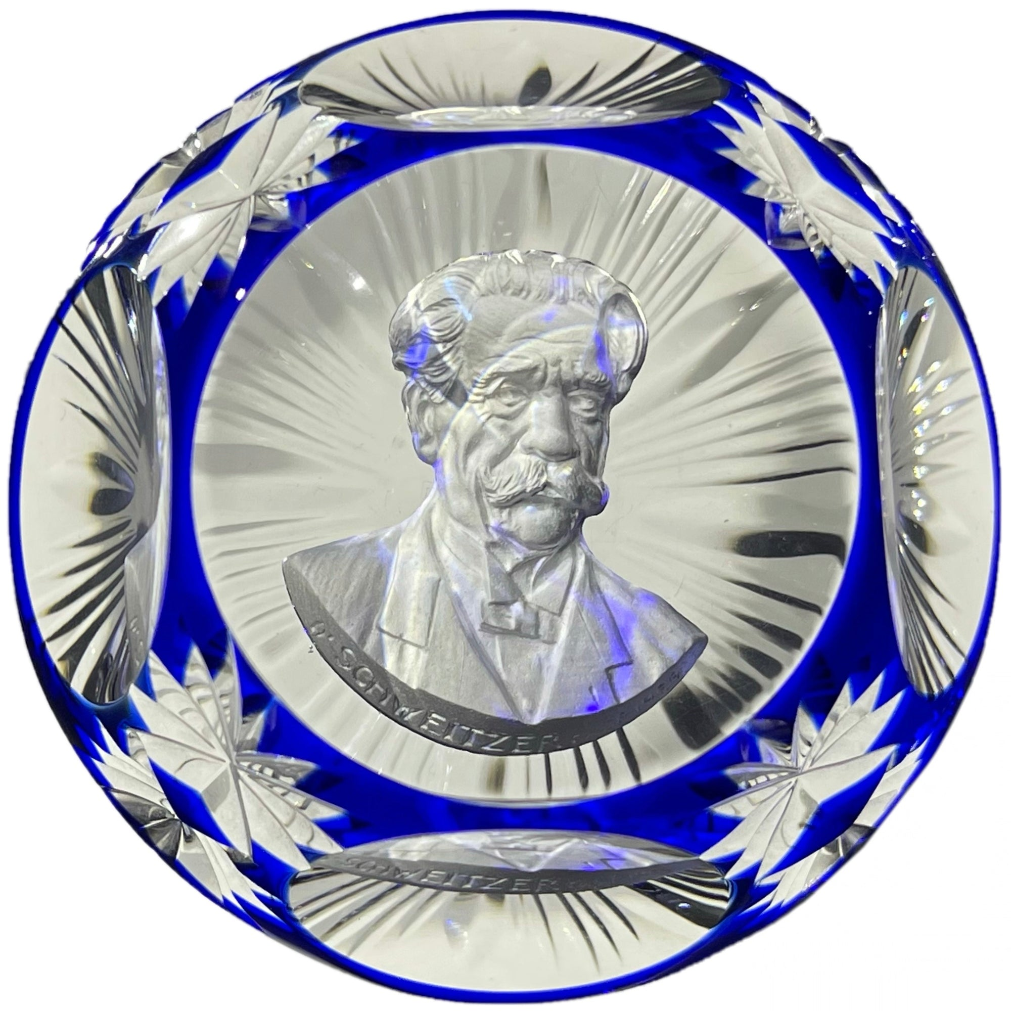 Cristal d'Albret Albert Schweitzer Sulphide Fancy Cut Blue Overlay Glass Paperweight