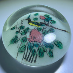 Early Chinese Art Glass Paperweight Hand Painted Black-Crested Bulbul Bird on White Ground