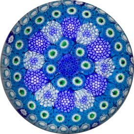 Matt Fimiano 2019 Complex Concentric Blue Millefiori in Staves