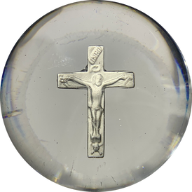 Antique Clichy Glass Art Paperweight Crucifix Sulphide