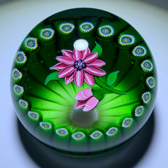Perthshire Paperweights 1978F Flamework Pink Clematis in Green Stave Basket