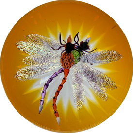 Gordon Smith 2019 Compound Flamework Double Dragonfly Over Star-cut Amber Base