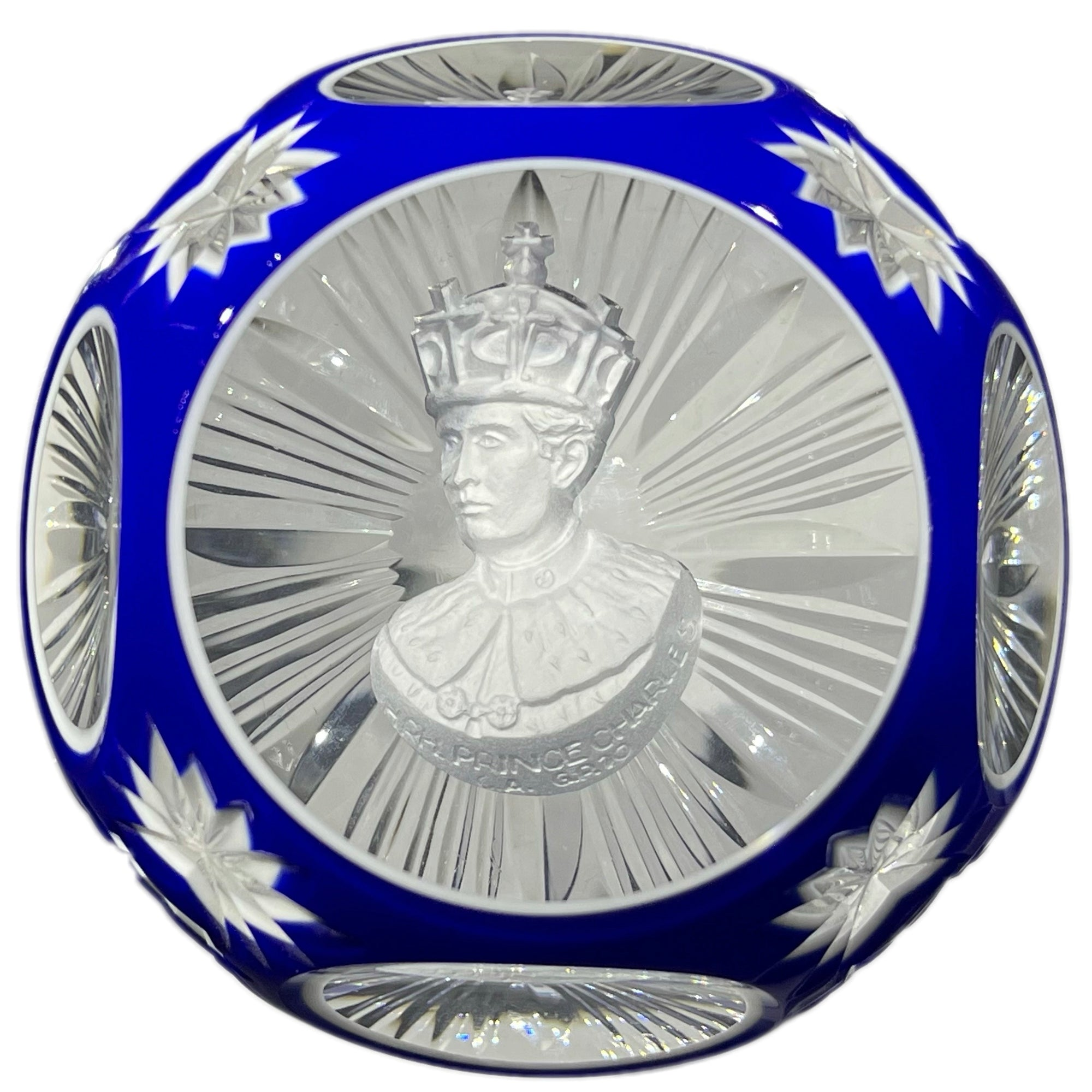 Cristal d'Albret Prince Charles Coronation Sulphide Fancy Cut Blue Double Overlay Glass Paperweight