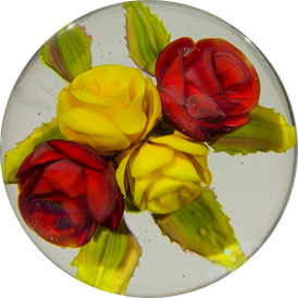 Alan Jess 2018 Art Glass Paperweight Lampwork Yellow & Red Roses