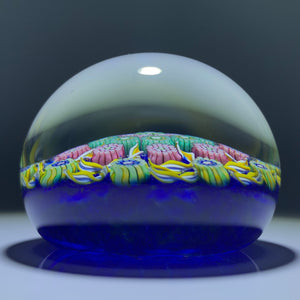 Perthshire PP203 Art Glass Paperweight Patterned Millefiori and Ribbon Twists on Blue Ground