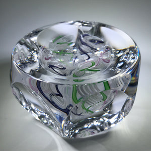 Unknown European Maker Faceted Art Glass Paperweight Encased Latticino Crown
