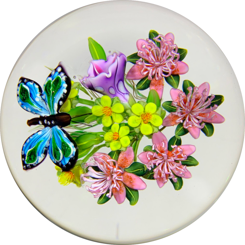 Signed Ken Rosenfeld Art Glass Paperweight 2018 Lampwork Hovering Butterfly w/ Flowers
