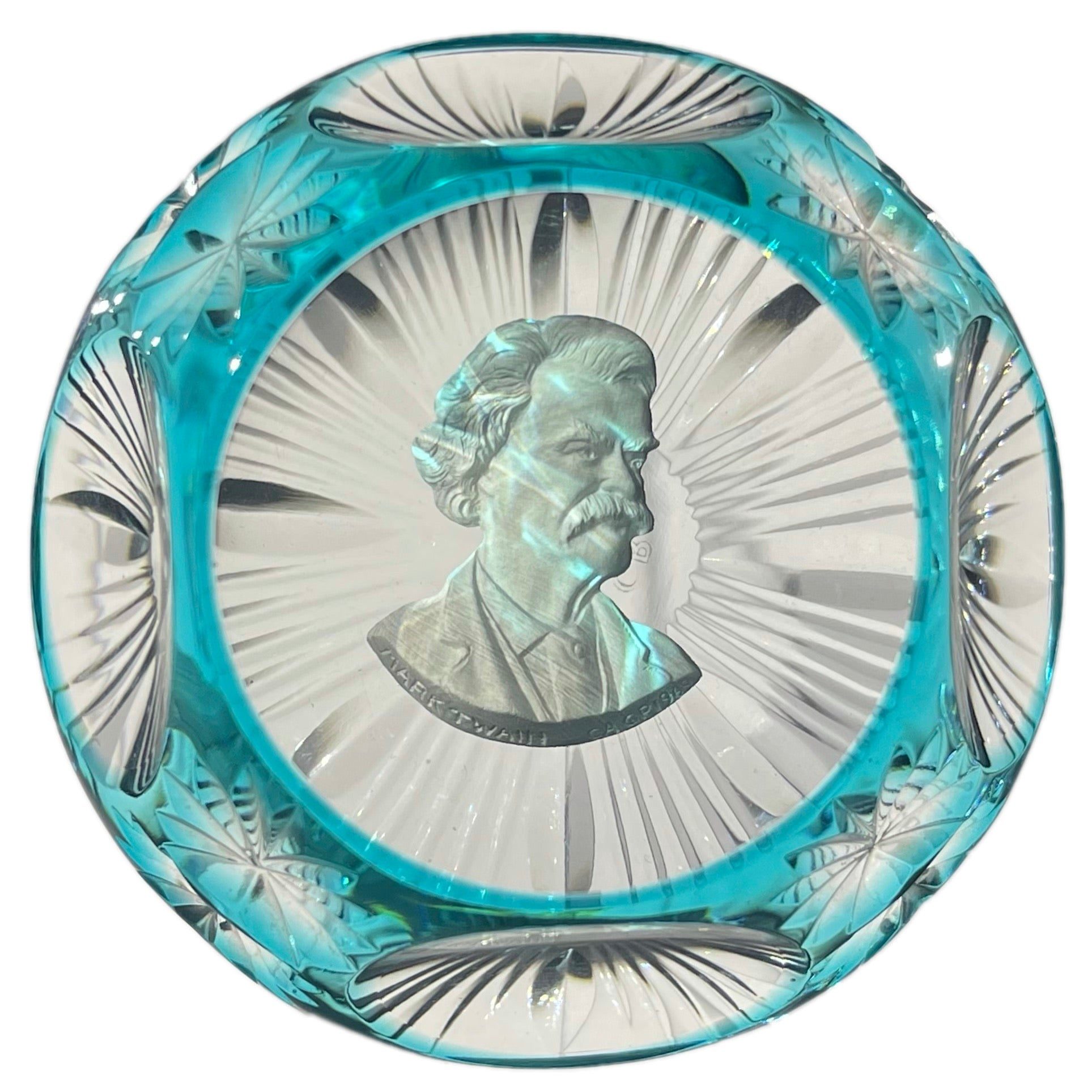 Cristal d'Albret Mark Twain Sulphide Fancy Cut Blue Overlay Glass Paperweight