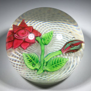 Rare Antique New England Glass Co. NEGC Lampwork Rose on Spiral Filigree Basket
