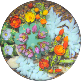 Cathy Richardson 2020 One-Of-A-Kind Flamework Flowering Cacti Barrel Cactus