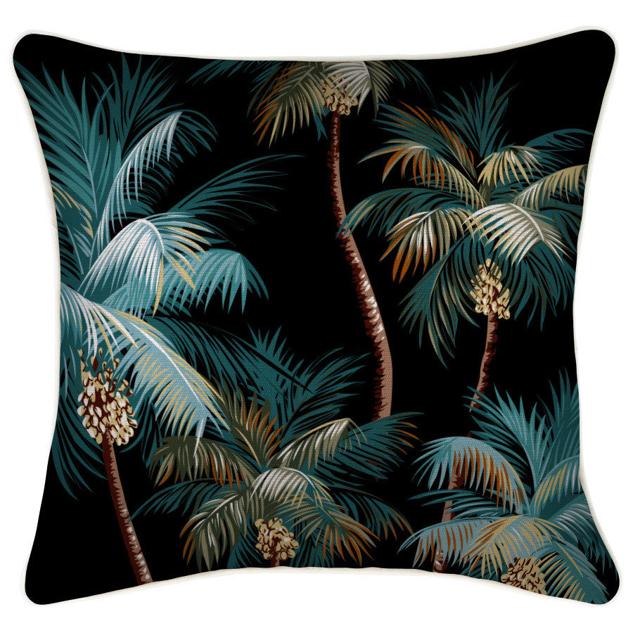 The Palm Trees Black boasts a splatter of colourful palms against a black background, creating a tropical feel in any atmosphere. This cushion is suitable for indoors or outdoors due to it's water resistant fabric.