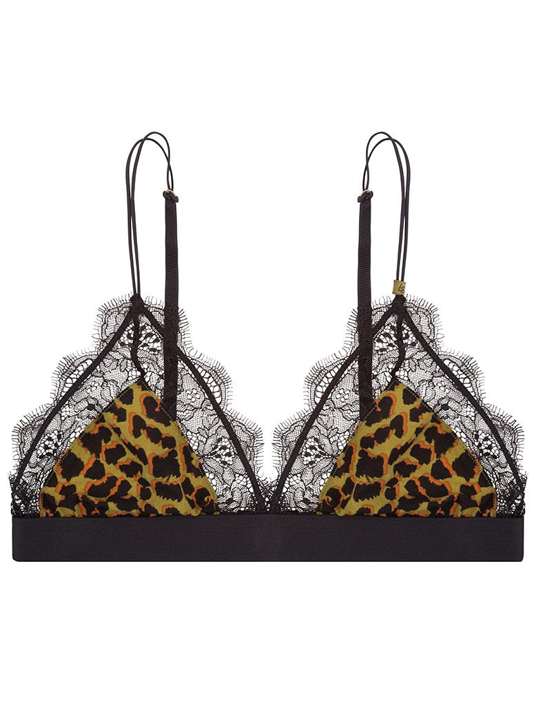 Love Lace Bralette - Avocado Leopard