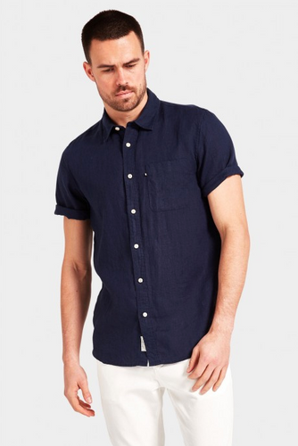 Hampton S/S Linen Shirt - Navy